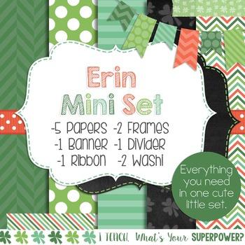 Digital Paper and Frame St. Patrick's Day Erin Mini Set