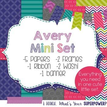 Digital Paper and Frames Mini Set Avery