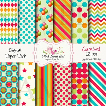 Digital Paper - carnival paper background. Fun and great colors