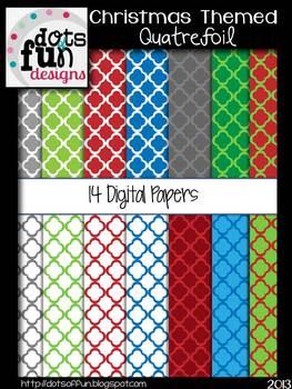 Digital Paper for Christmas: Quatrefoil Pattern