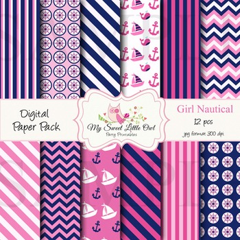 Digital Paper - pink & blue nautical paper background