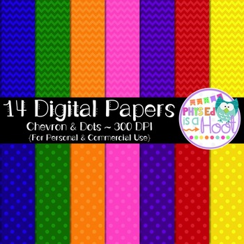Digital Papers - 14 Chevron & Dots Papers for Personal & Commercial Use