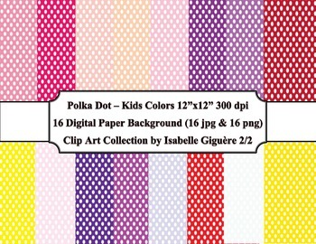 Digital Papers - 16 Polka Dot Kids Colors #2 of 2 (Commercial Use)