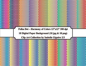 Digital Papers - 18 Polka Dot Harmony of Colors #2 of 3 (C
