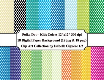 Digital Papers - 18 Polka Dot Kids Colors #1 of 2 (Commercial Use)