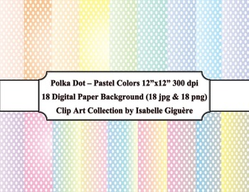 Digital Papers - 18 Polka Dot Pastel Colors (Commercial Use)