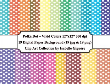 Digital Papers - 19 Polka Dot Vivid Colors (Commercial Use)