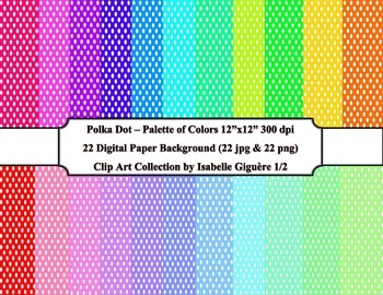 Digital Papers - 22 Polka Dot Palette of Colors #1 of 2 (C