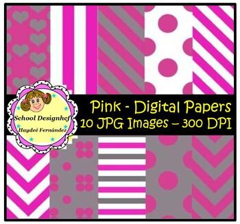 Digital Papers - Set Pink & Grey (School Design)