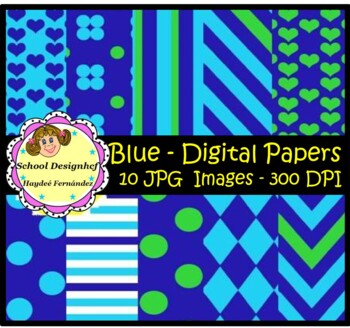 Digital Papers - Set Blue & Green (School Designhcf)