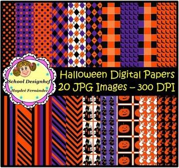 Halloween Digital Papers -  20 images JPG at 300DPI (School Designhcf)