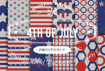 Digital Papers - 4th Of July Patterns Bundle Deal