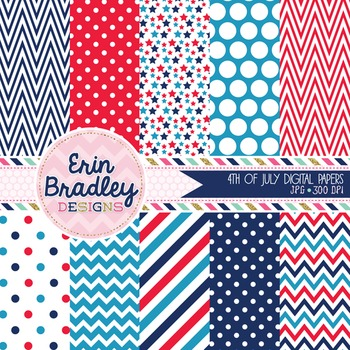 Digital Papers - 4th of July Chevron Stripes Stars & Polka Dots