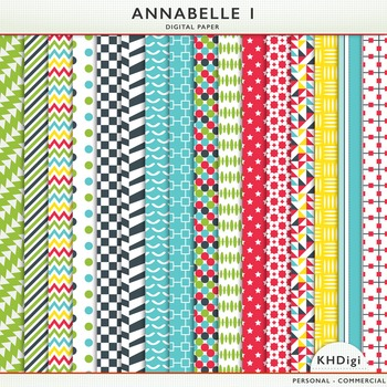 """Digital Papers - """"Annabelle 1"""", Navy, Blue, Red, Yellow and Green"""