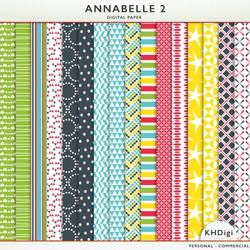 """Digital Papers - """"Annabelle 2"""", Navy, Blue, Red, Yellow and Green"""