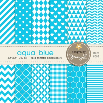 Digital Papers Aqua Blue