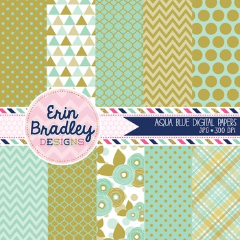 Digital Papers - Aqua Blue Patterned Background Graphics Commercial Use