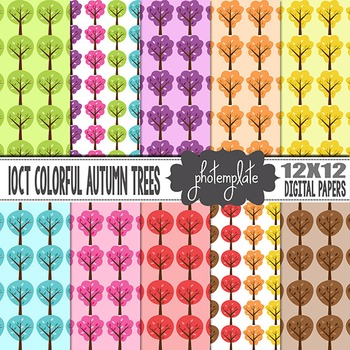 Digital Papers: Autumn Trees Scrapbooking Paper
