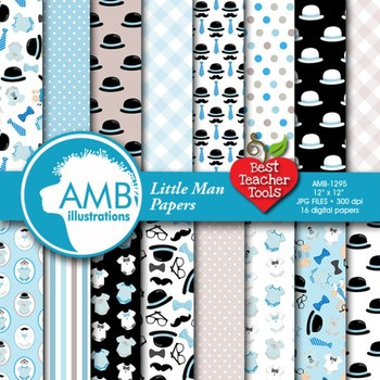 Baby Boy Digital Papers and backgrounds, { Best Teacher Tools } AMB-1295