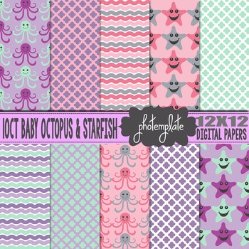 Digital Papers: Baby Girl Octopus and Starfish Scrapbooking Paper
