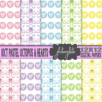 Digital Papers: Baby Girl and Boy Pastel Octopus Scrapbooking Paper