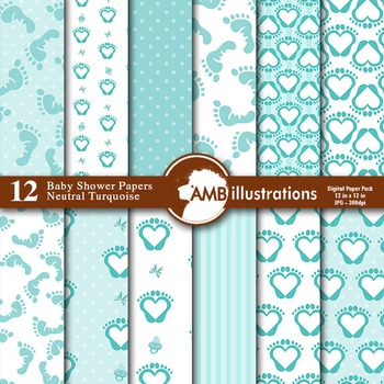 Digital Papers - Baby Shower Digital paper and backgrounds - AMB-844