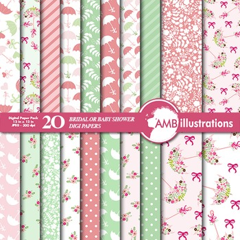Digital Papers - Baby Shower digital paper and backgrounds - AMB-874