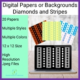 Digital Papers Backgrounds Diamonds and Stripes Pattern