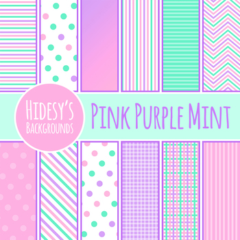 Digital Papers / Backgrounds in Pink, Purple and Mint Green Clip Art Commercial