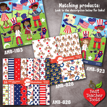Digital Papers, July 4th, Stars and Stripes Digital Paper & backgrounds, AMB-828