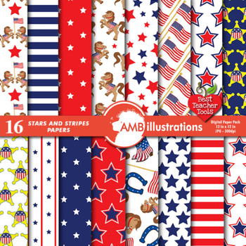 Digital Papers, July 4th, Stars and Stripes Digital Paper