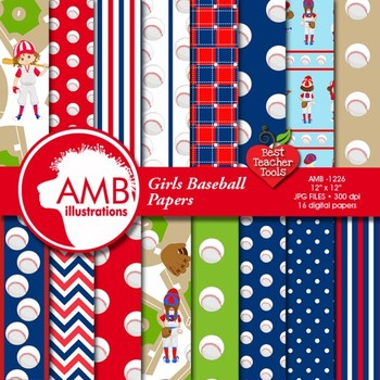 Digital Papers, Baseball paper and backgrounds, Girls Base