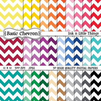 Digital Papers ~Basic Chevron~ 30 Digital Papers {Ink n Li