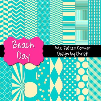 Digital Papers: Beach Day Aqua and Yellow