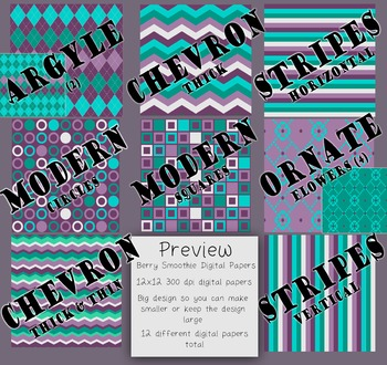 Digital Papers-Berry Smoothie {Purple, Gray, Teal, Light Purple 300dpi, 12x12}