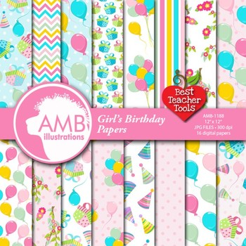 Digital Papers, Birthday Digital Paper, Party Papers, AMB-1188
