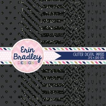 Digital Papers - Black Glitter