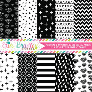 Digital Papers, Black & White Digital Paper Pack