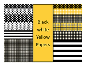 Digital Papers: Black, White and Yellow
