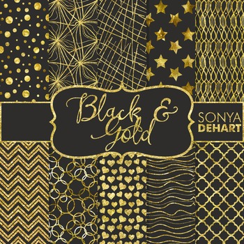 Digital Papers - Black and Gold Foil Patterns