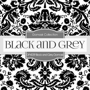 Digital Papers - Black and Grey Damask (DP4039)