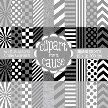 Digital Papers: Black and White Scrapbook Paper - 40 pc -12x12