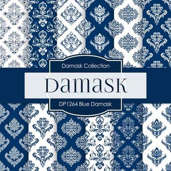 Digital Papers - Blue Damask (DP1264)
