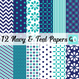 Navy and Teal Patterned Papers