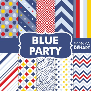Digital Papers -  Blue Party