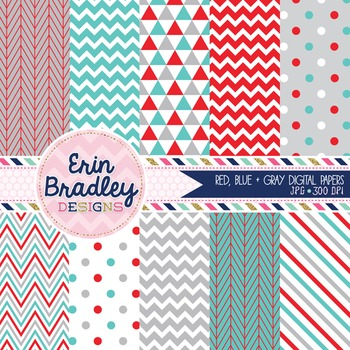 Digital Papers - Blue Red & Gray