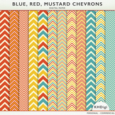 Digital Papers - Blue Red Mustard Chevrons