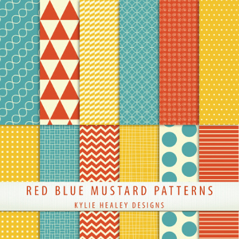 Digital Papers - Blue Red Mustard Patterns