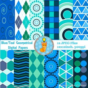 Digital Papers Blue Teal Geometrical Shapes