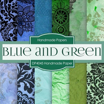 Digital Papers - Blues and Green Handmade Paper (DP4045)